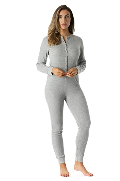 f4f560857387  followme 6363-GRY-S Women s Solid Thermal Henley Onesie