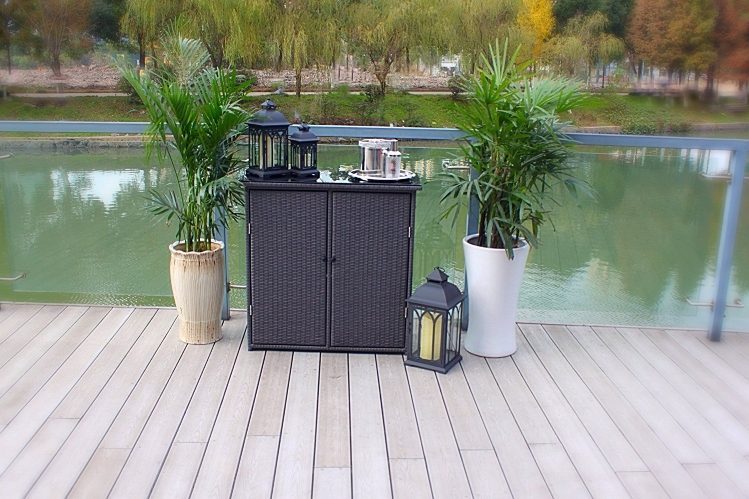 Pebble Lane Living Outdoor Hand Woven UV Resin Wicker and Powder-Coated Aluminum Serving Bar/Buffet Table Unit with Tempered Glass Top - Black by Pebble Lane Living (Image #3)