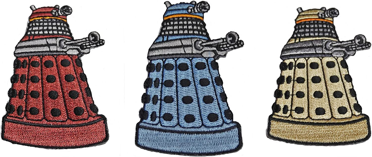 """DALEKS 3/"""" Tall Embroidered PATCHES DOCTOR WHO Set of 3 Red, Blue /& Yellow"""