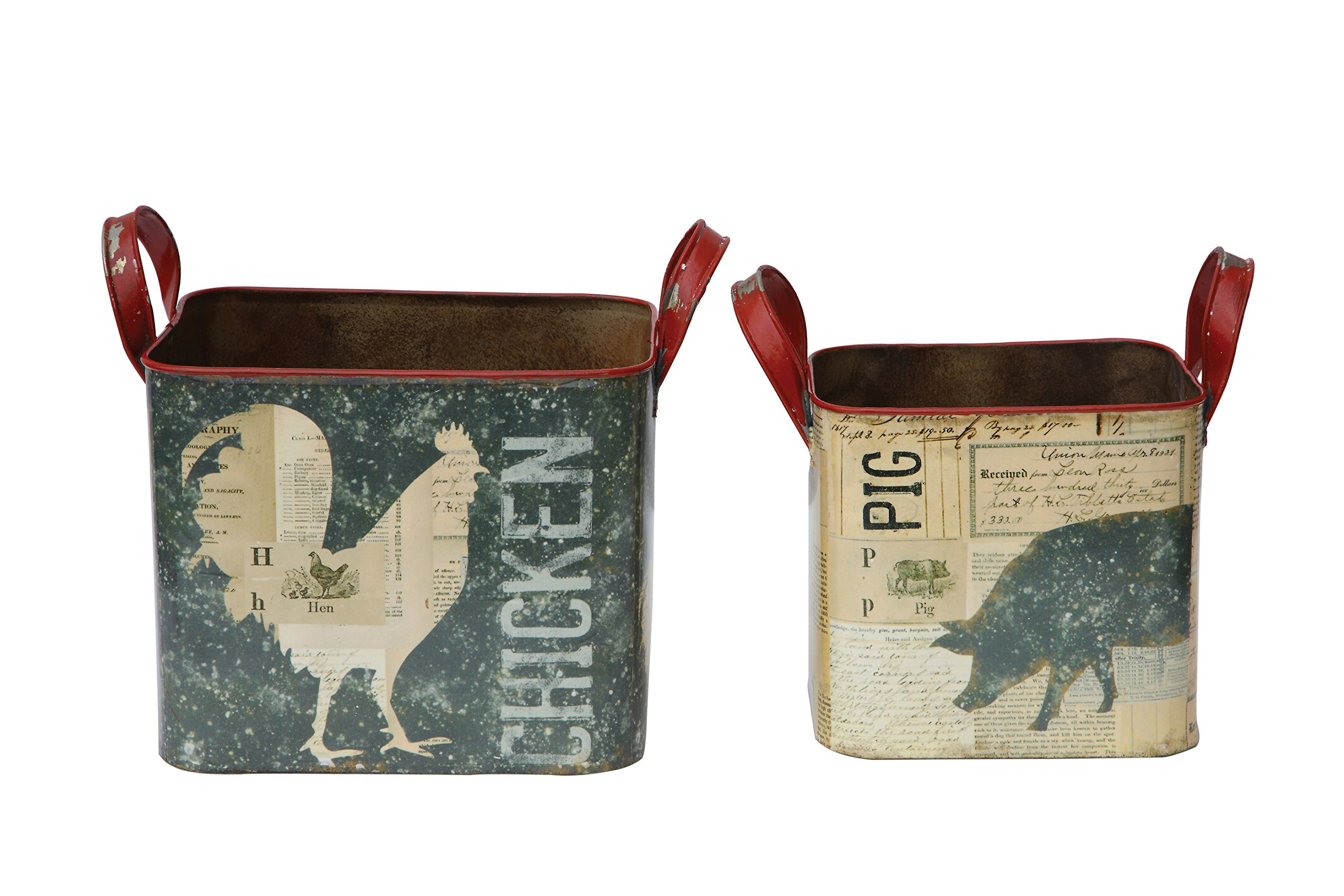 Creative Co-op DA5045 Two Tin Buckets with Farm Animal Images by Creative Co-op