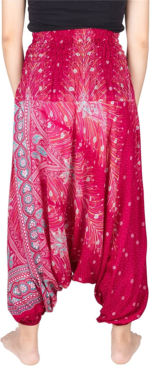 Lofbaz Womens Rose Colour Peacock Harem 2 in 1 Pants and Jumpsuit Trousers