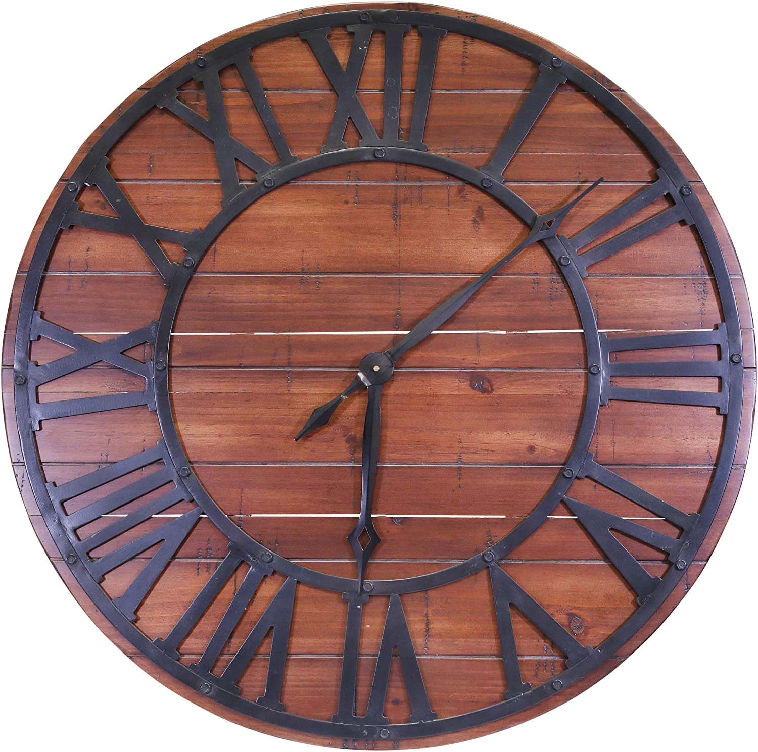 Sagebrook Home 12779 Wood Wall Clock, 31 x 31 x 1.25, Brown