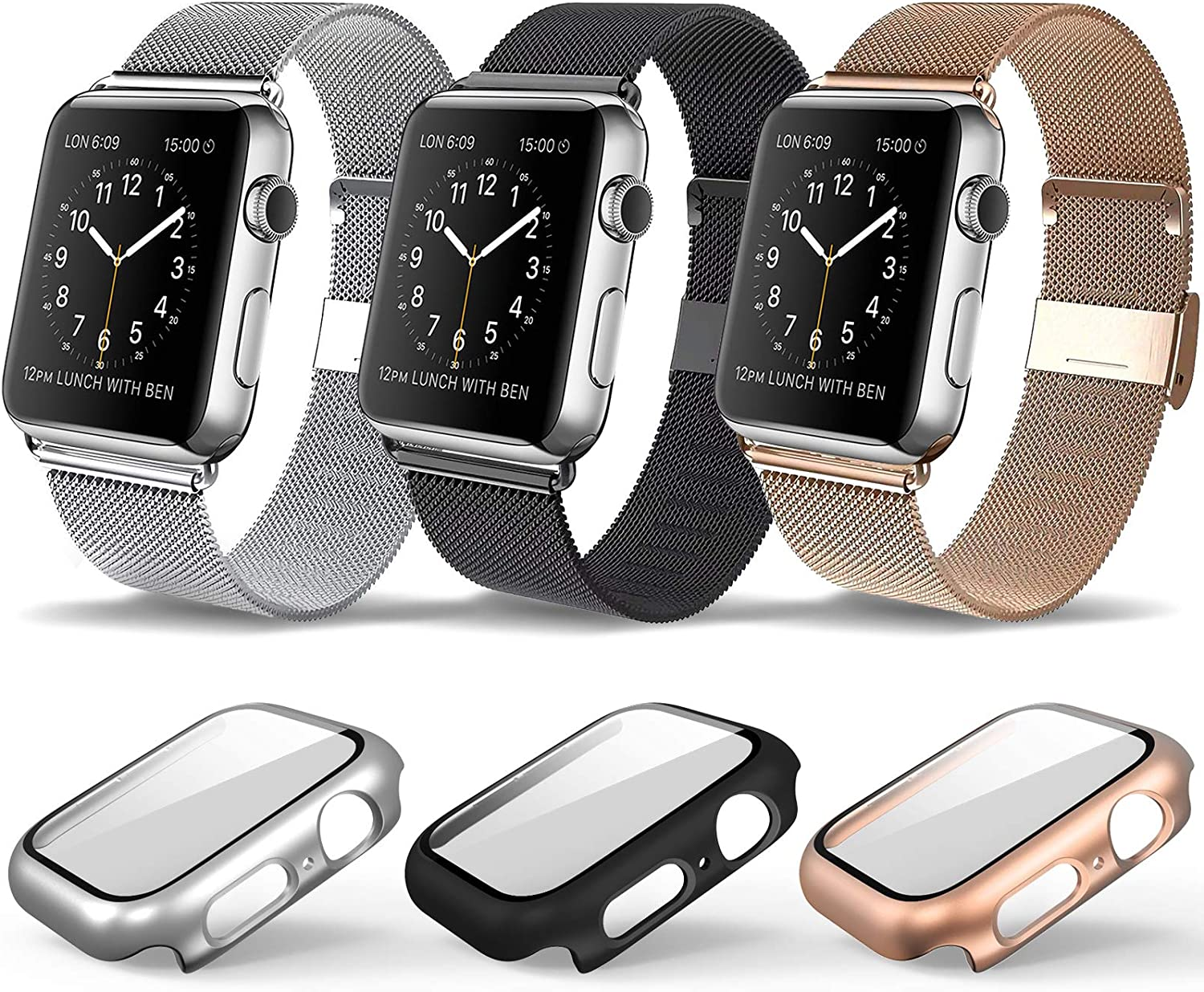 3 Pack Magnetic iWatch Bands with Case Compatible for Apple Watch Band Milanese Loop for Apple Watch Band 38mm 40mm 42mm 44mm for Women Men, Replacement Accessories Wristband Strap for Apple Watch Sport iWatch Bands stainless steel Apple Smart Watch Series 6 Series 3 Apple IWATCH SE /5/4/3/2/1 All Model, Black Rose Gold