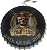 Pirate Skull and Crossbones Metal Bottle Cap Hanging Sign for Bar