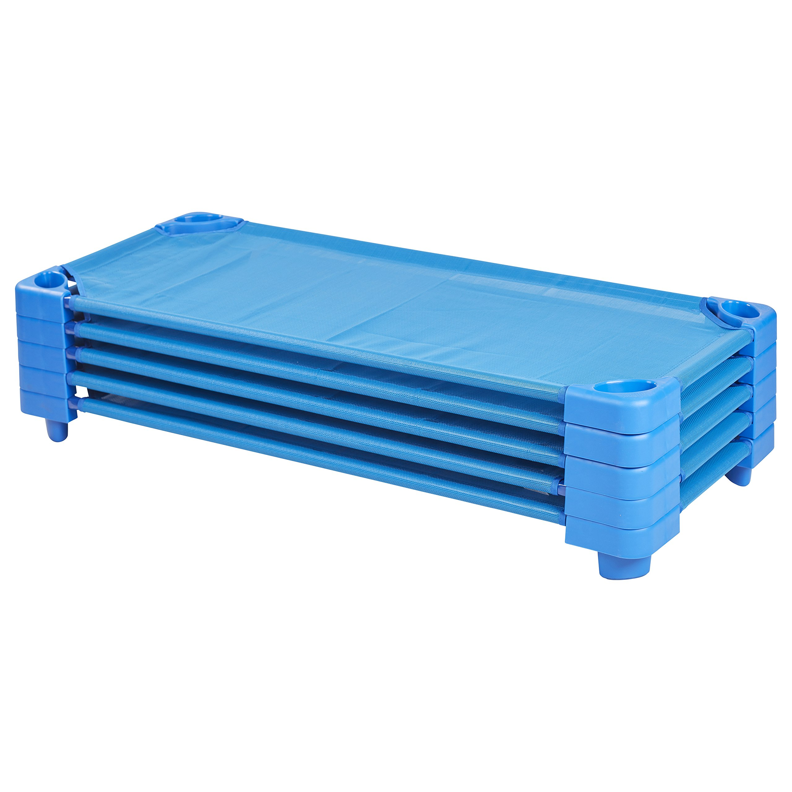 ECR4Kids Children's Naptime Cot, Stackable Daycare Sleeping Cot for Kids, 52'' L x 23'' W, Assembled, Blue (Set of 5)