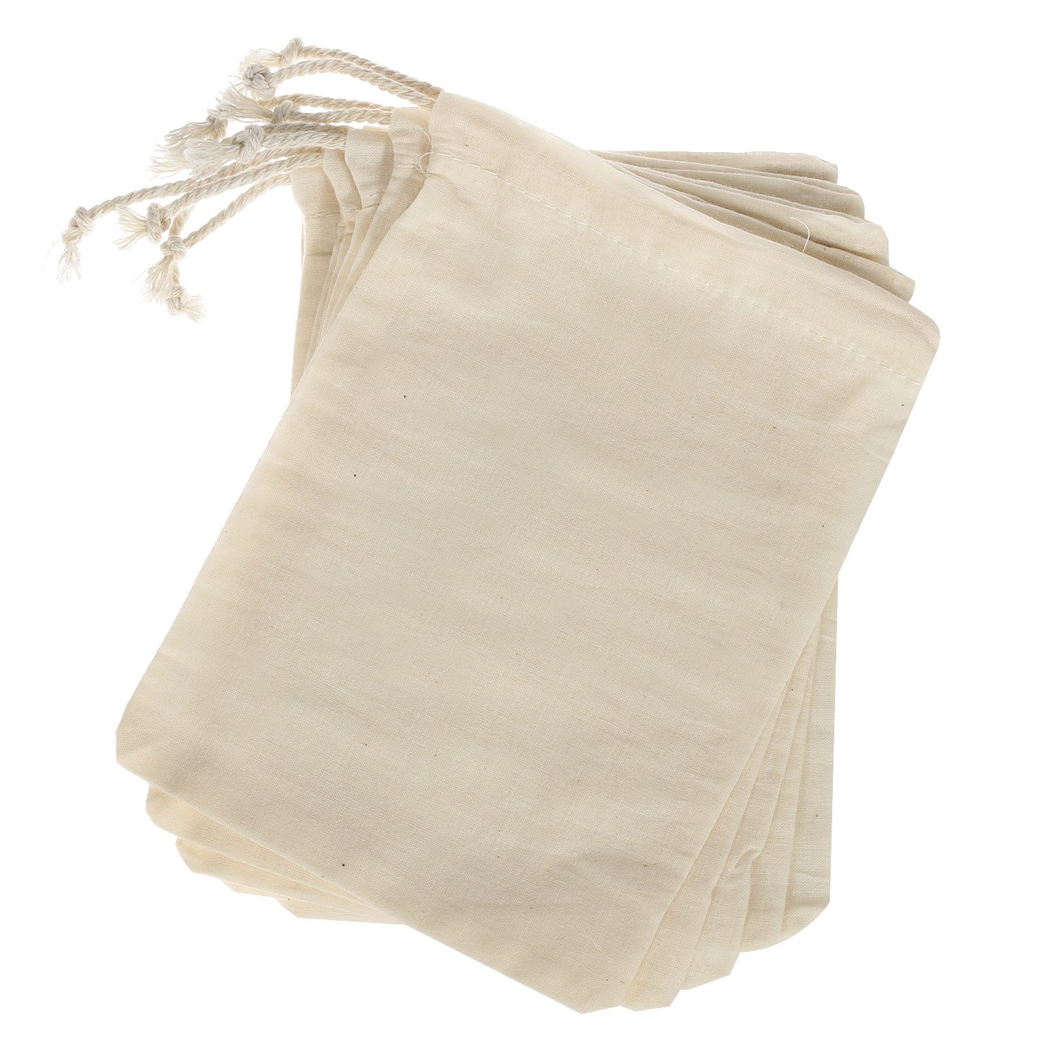 Ling's moment 25pcs 5x7 Inch Natural Clear Cotton Muslin Favor Bags for Wedding Bridal Shower Bachelorette Party Favor Gifts