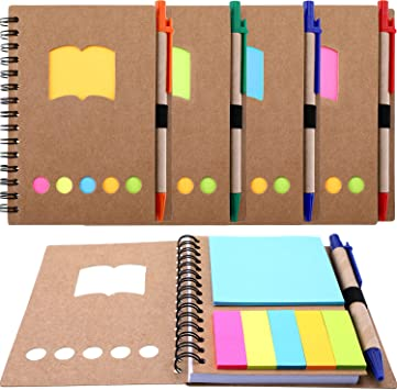 Paper Notepads with Pen Holder Sticky Notes and Page Marker Index Tabs