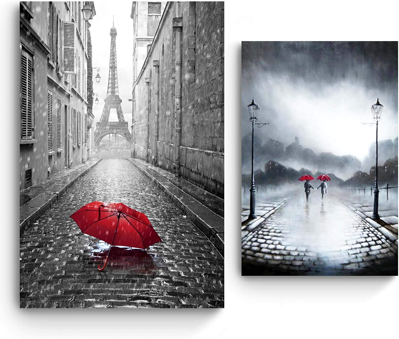Startonight Cuadro en Lienzo | Blanco y Negro Amor Rojo Paraguas | Paris y Pareja en la Lluvia | Compre uno y Obtenga Dos