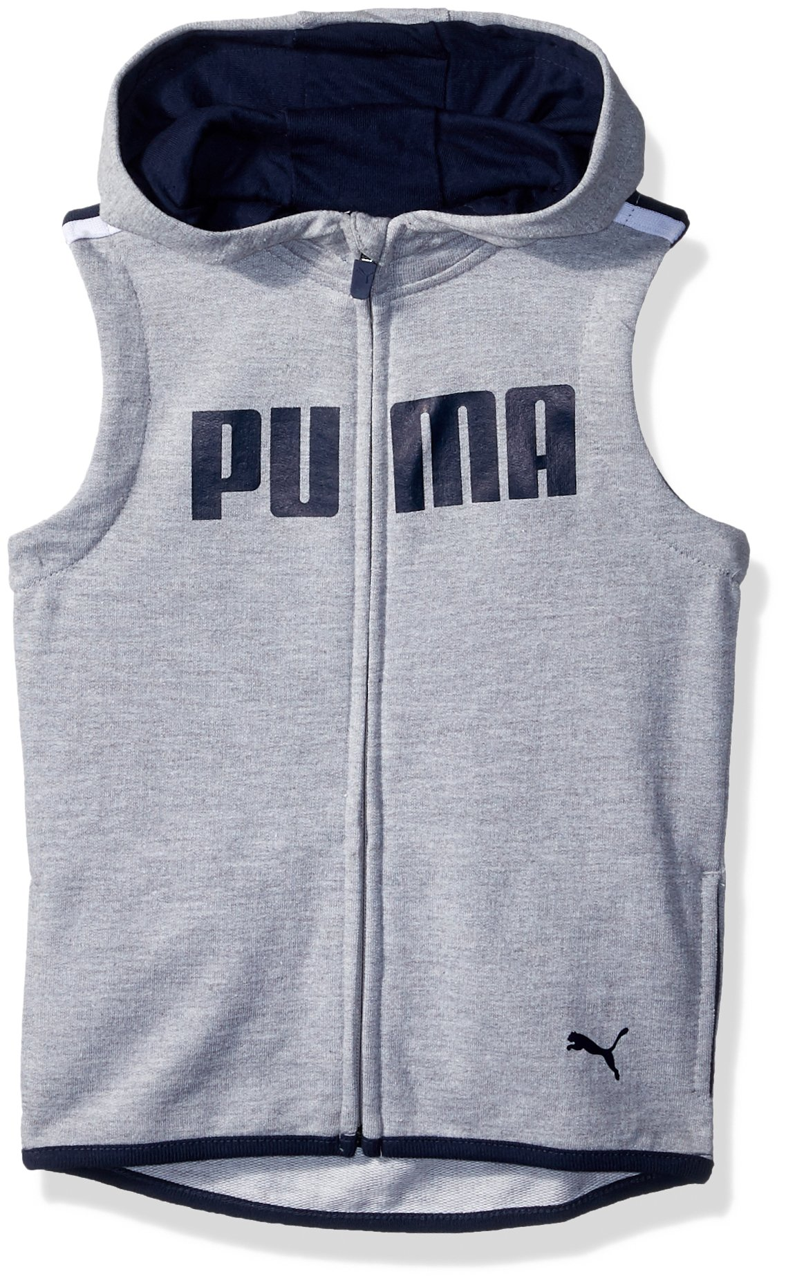 PUMA Toddler Boys' Dimicco Full Zip Hooded Vest, Light Heather Grey, 2T by PUMA (Image #1)
