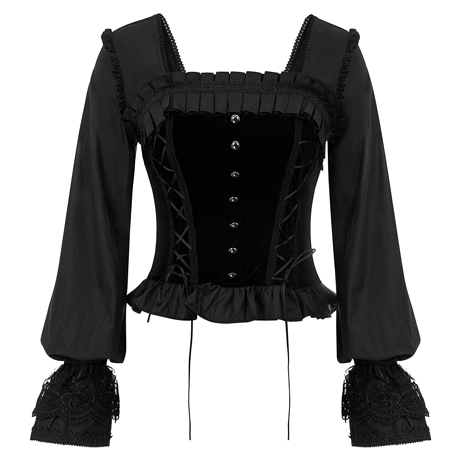 Women Gothic Victorian Long Sleeve Lace-up Tops Corset Overbust Bustier