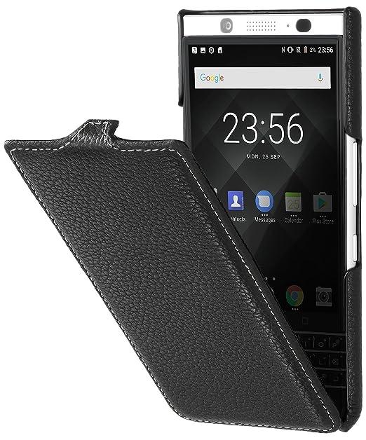 best service ab8c7 36da2 StilGut Genuine Leather Flip Case for BlackBerry KEYone, UltraSlim Cover  with Clasp and Sleep/Wake Function, Black