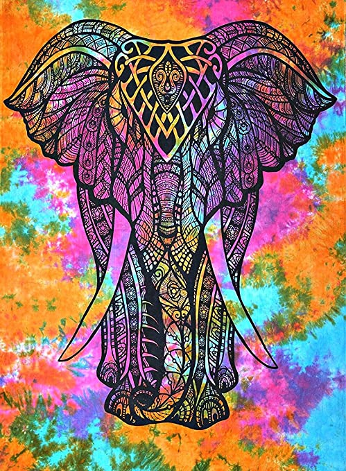 Colorful Tapestry Psychedelic Tie Dye Elephant Mandala Tapestry wall hanging Hippie Mandala Tapestries Indian Cotton Dorm Decor Bohemian Bedspread Table Runner Bed Cover Bed sheet Bedding