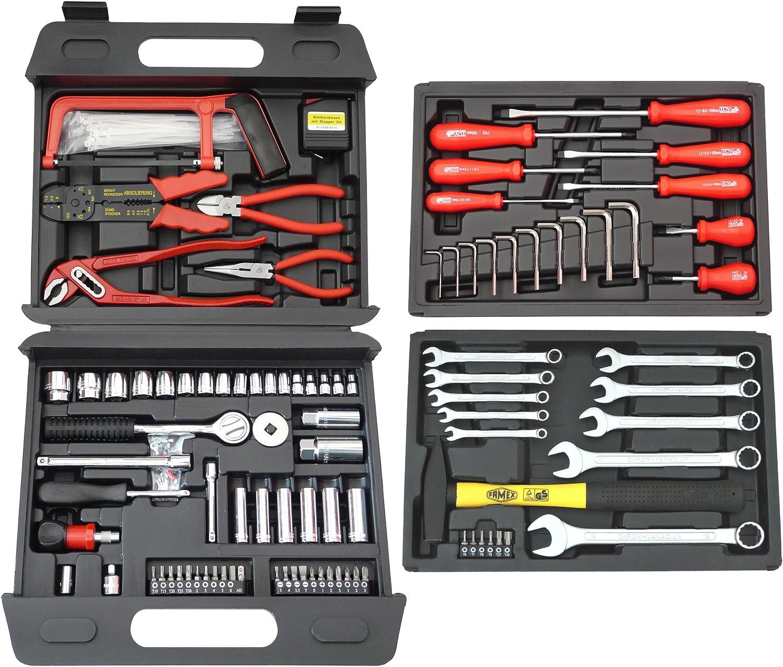 Der Famex Universal Werkzeugkoffer. Schlichte Optik aber umfangreiches Werkzeug-Set.