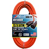 US Wire and Cable 65100 SJTW General Purpose Extension Cord, 100ft, Orange