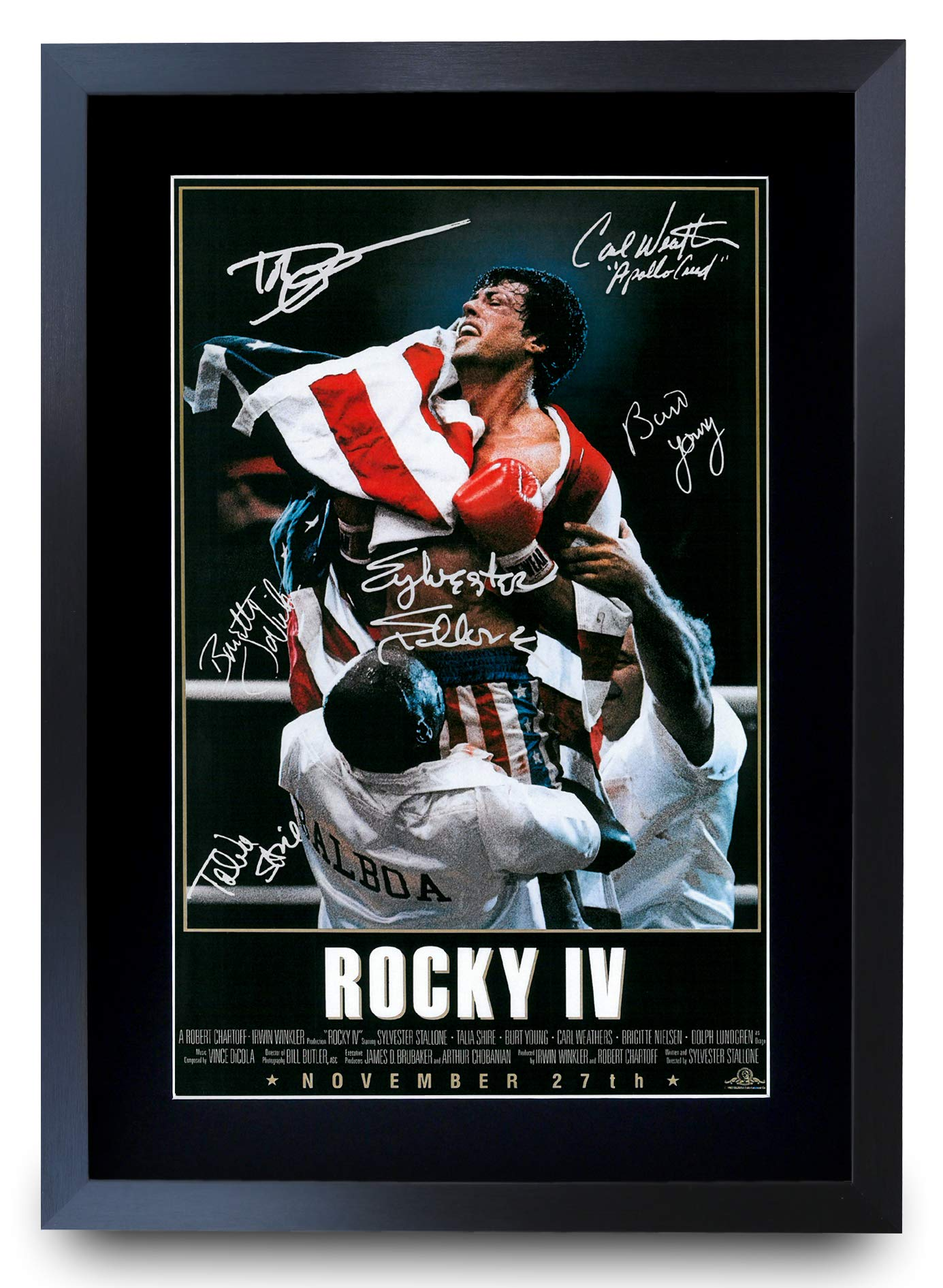 HWC Trading Rocky IV The Cast Rocky 4 Sylvester Stallone Dolph Lundgren Carl Weathers Gifts Printed Poster Signed Autograph Picture for Movie Fans A3 Framed