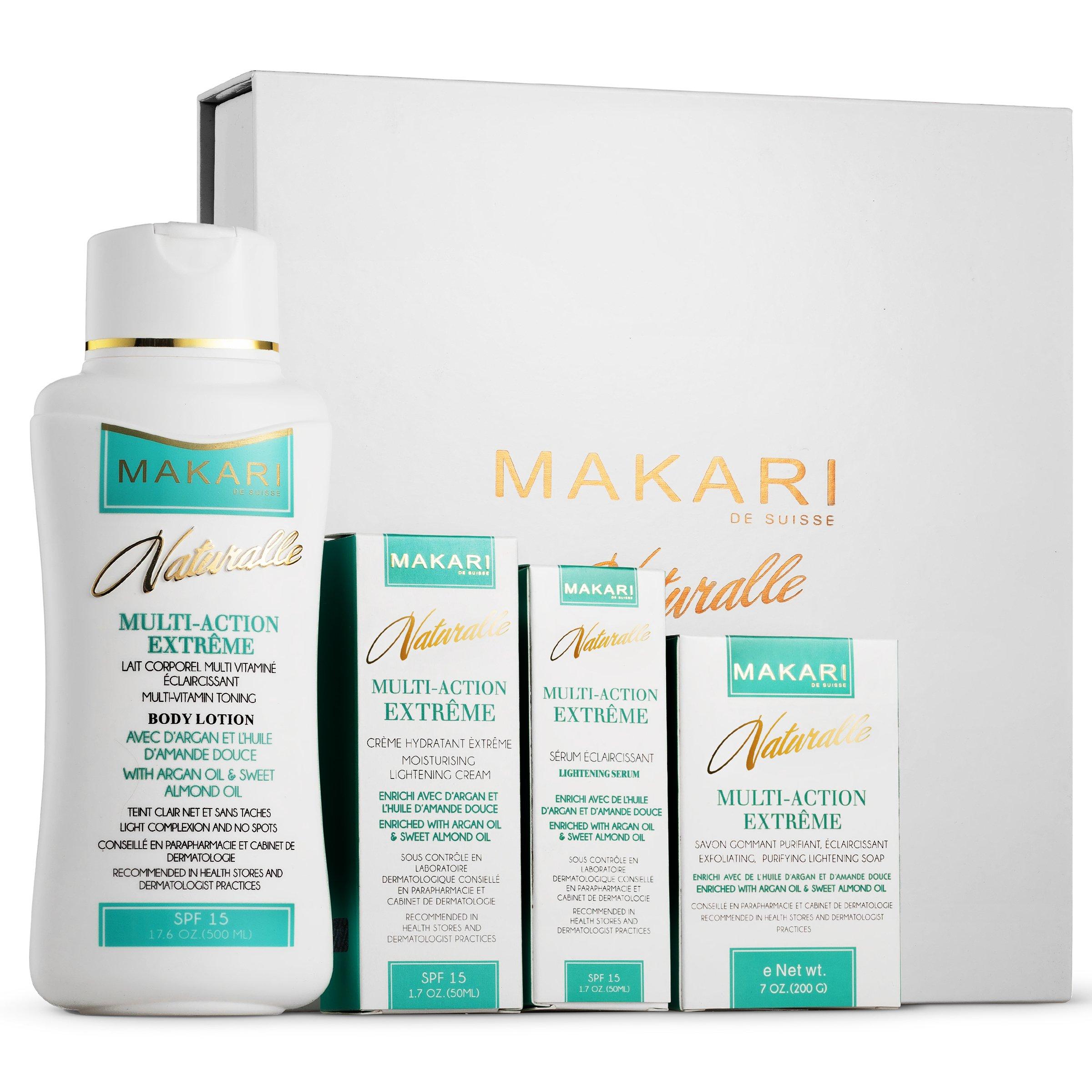 Makari Naturalle Multi-Action Extreme Gift Set – Whitening & Moisturizing with Argan Oil & SPF 15 – Hydrating & Regulating Treatment for Dark Spots, Acne,