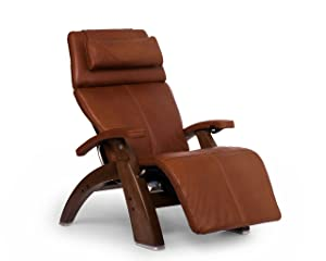 Perfect Chair Human Touch PC-610 Live Power Omni-Motion Walnut Zero-Gravity Recliner Premium Leather Fluid-Cell Cushion Memory Foam Jade Heat - Cognac Premium Leather - in-Home White Glove Delivery