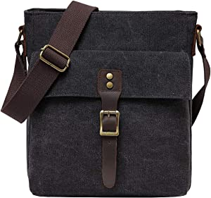 Small Messenger Bag, Kasqo Vintage Canvas Leather Lightweight Shoulder Crossbody Bag for Men and Women Gray