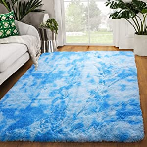 Zareas Modern Luxury Fluffy Bedroom Rugs for Living Room, Soft Fuzzy Shaggy Fur Area Rugs for Kids Room Dorm Nursery Indoor Plush Furry Comfy Accent Home Decor Floor Throw Carpet Mat 4'x5.9' (Blue)