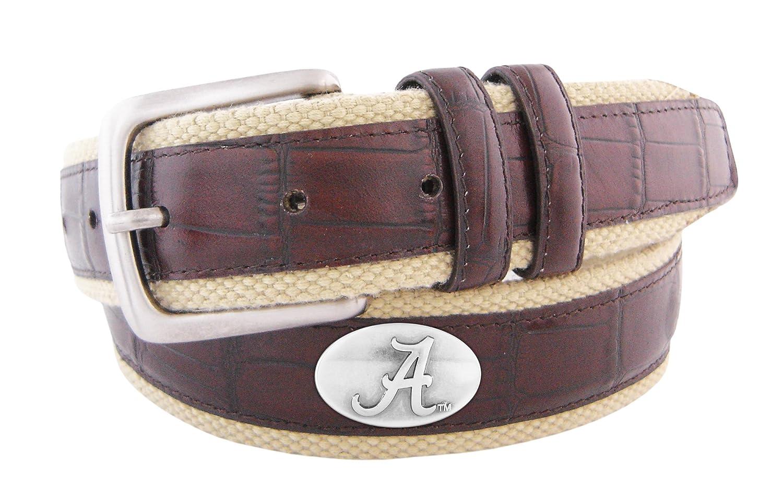 NCAA Alabama Crimson Tide Croc Leather Webbing Concho Belt Zeppelin Products Inc. UAL-BL4C-BUF-32-P
