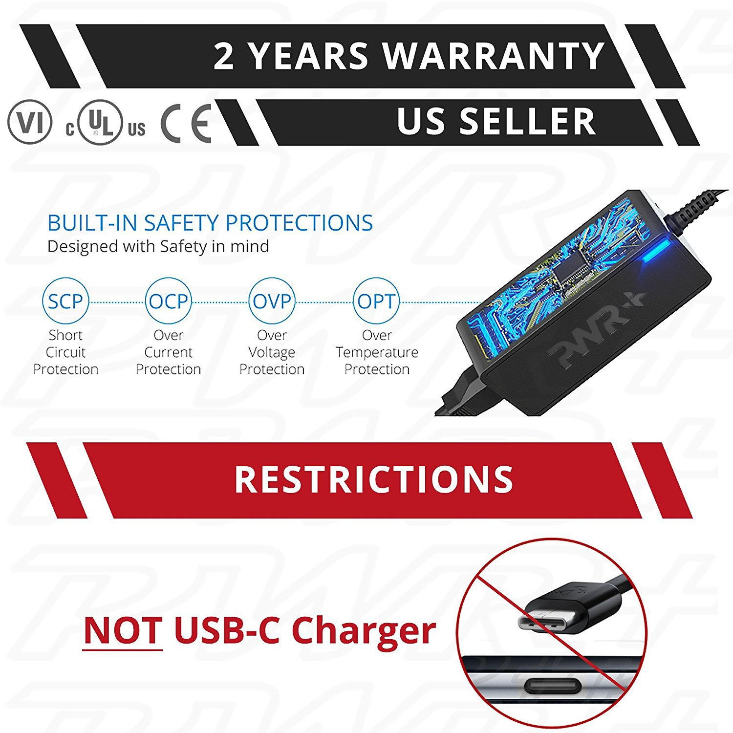 Pwr Charger for Lenovo Laptop Power Cord: UL Listed Long 12 Ft 65W 45W AC Adapter Thinkpad T440 T450 T460 T470 T570 C260 C470 ThinkCentre M53 M73 M93p All in One Desktop PC ADLX45NCC3A ADLX65NLC2A by PWR+ (Image #3)