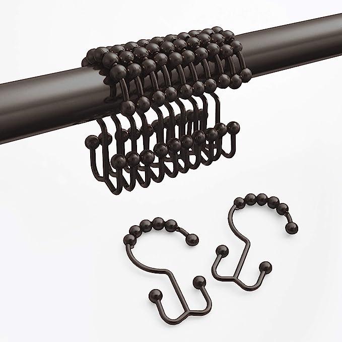 TSJ Double Glide Shower Curtain Hooks Rings,Double-Hook Solid Ball,Bathroom Fittings,Bronze,Set of 12