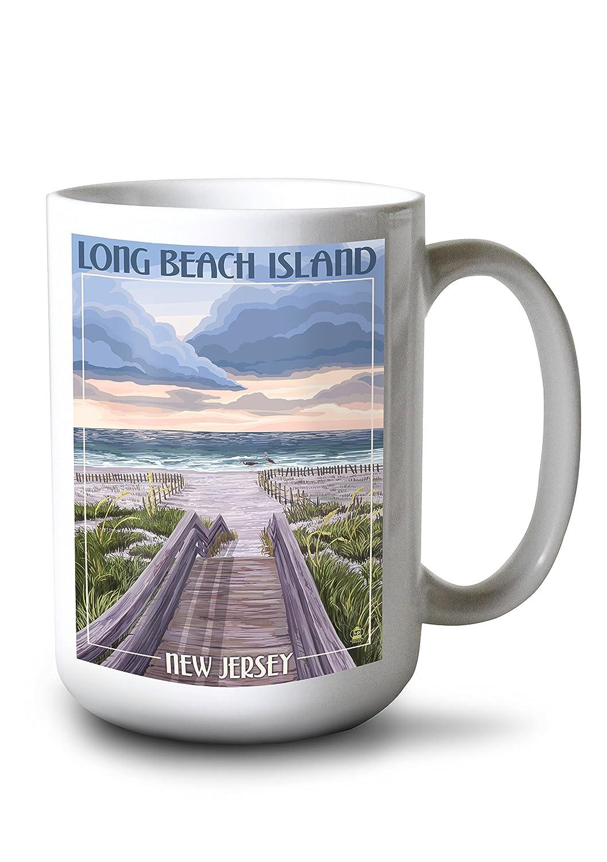 Long Beach Island、New Jersey – ビーチボードウォークシーン 15oz Mug LANT-3P-15OZ-WHT-44230 B077RWQKHH  15oz Mug