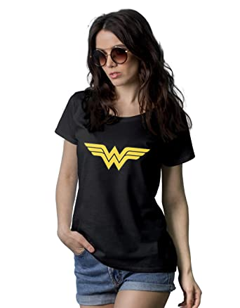 9e1818fd Amazon.com: Wonder Graphic Tees for Women - Adult Superhero Novelty Black T  Shirts for Womens: Clothing