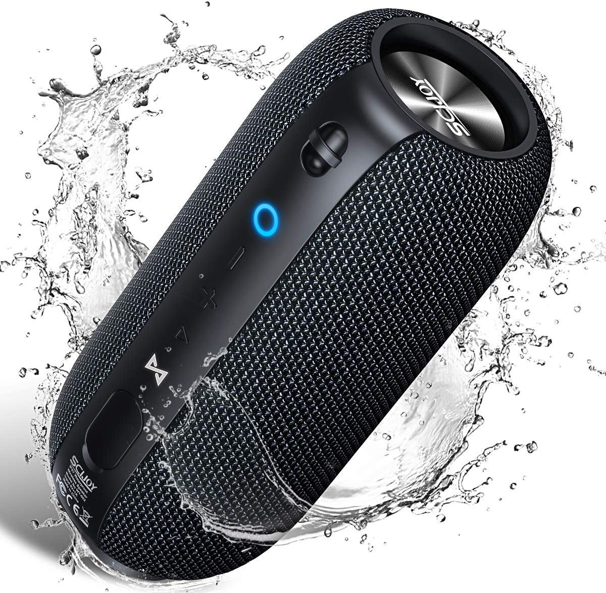 Bluetooth Lautsprecher IPX7 Wasserdicht, SCIJOY 20W Wireless Lautsprecher, Tragbarer 360° Stereo Lautsprecher Sound, Satter Bass, 12 Std.-Spielzeit, für Heim/Outdoor, Dusche, Party, Urlaub 1