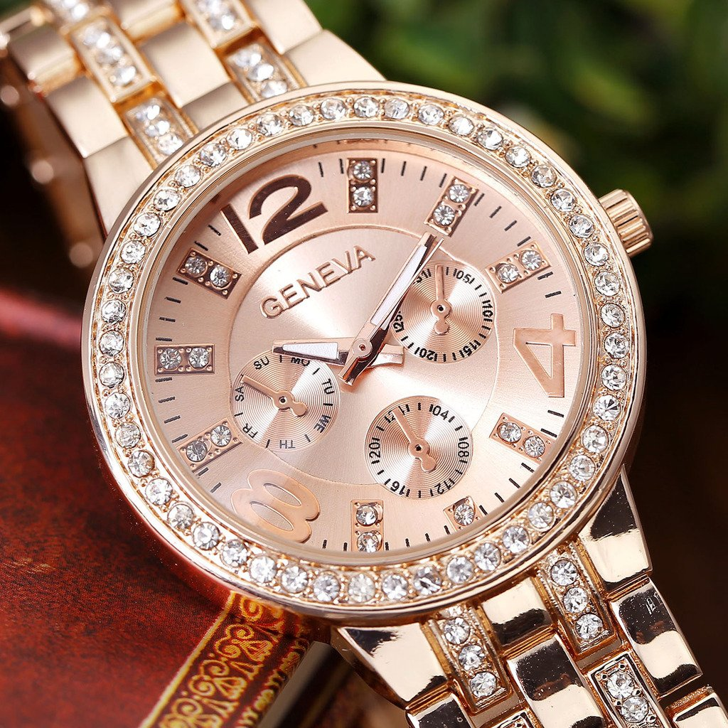 Top Plaza Rose Gold Metal Women Rhinestone Decorated Case 4,8,12 Numeral Dial Analog Quartz Wrist Watch