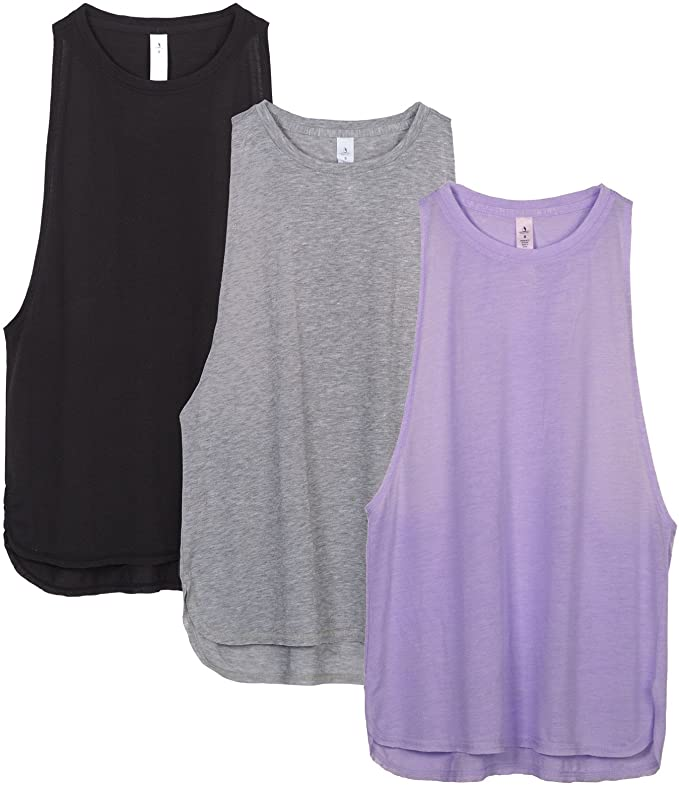 icyzone Workout Tank Tops for Women - Running Muscle Tank Sport Exercise Gym Yoga Tops Running Muscle Tanks(Pack of 3) (M, Black/Grey/Lavender)