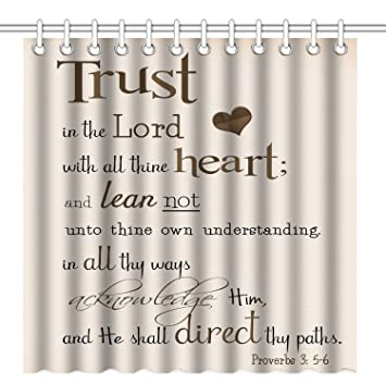 Wknoon 72 X Inch Shower CurtainBible Verse Scripture Quotes Proverbs