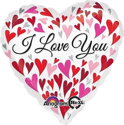 Multicolor Anagram International Hx Love You Silver Hearts Balloon