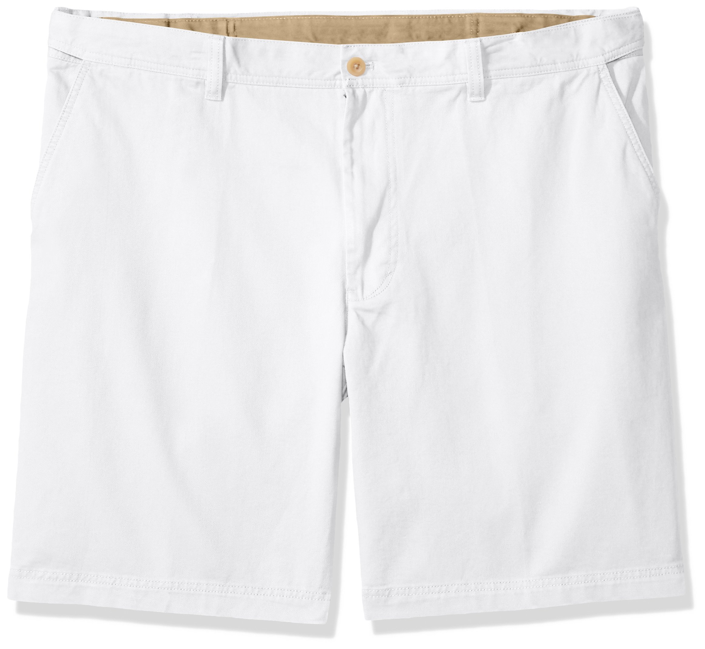 IZOD Men's Big and Tall Flat Front Solid Oxford Short, White, 54W