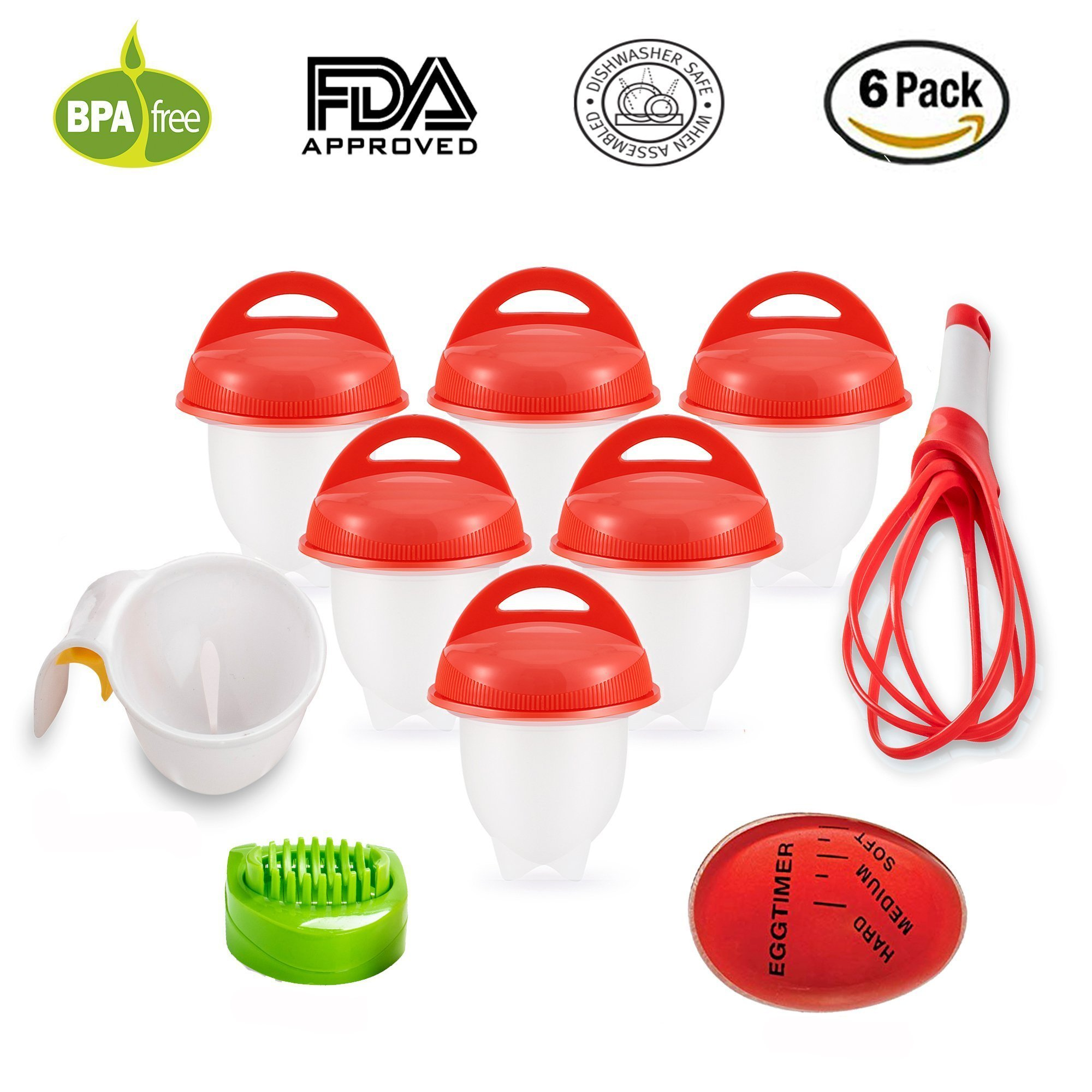 As Seen on TV Egg Cooker Set - 6 Pack, Non Stick Silicon Egg Boiler, Hard Boiled Eggs With No Shell | Includes 4 FREE Complimentary Items: 1 Egg Timer, 1 Egg Separator, 1 Egg Whisk and 1 Egg Slicer by KooZs (Image #1)