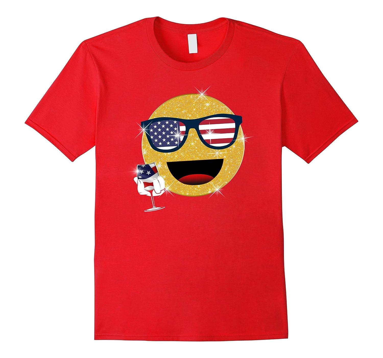 4th of july emoji t shirt funny emoji wine glass 4th of july-TH