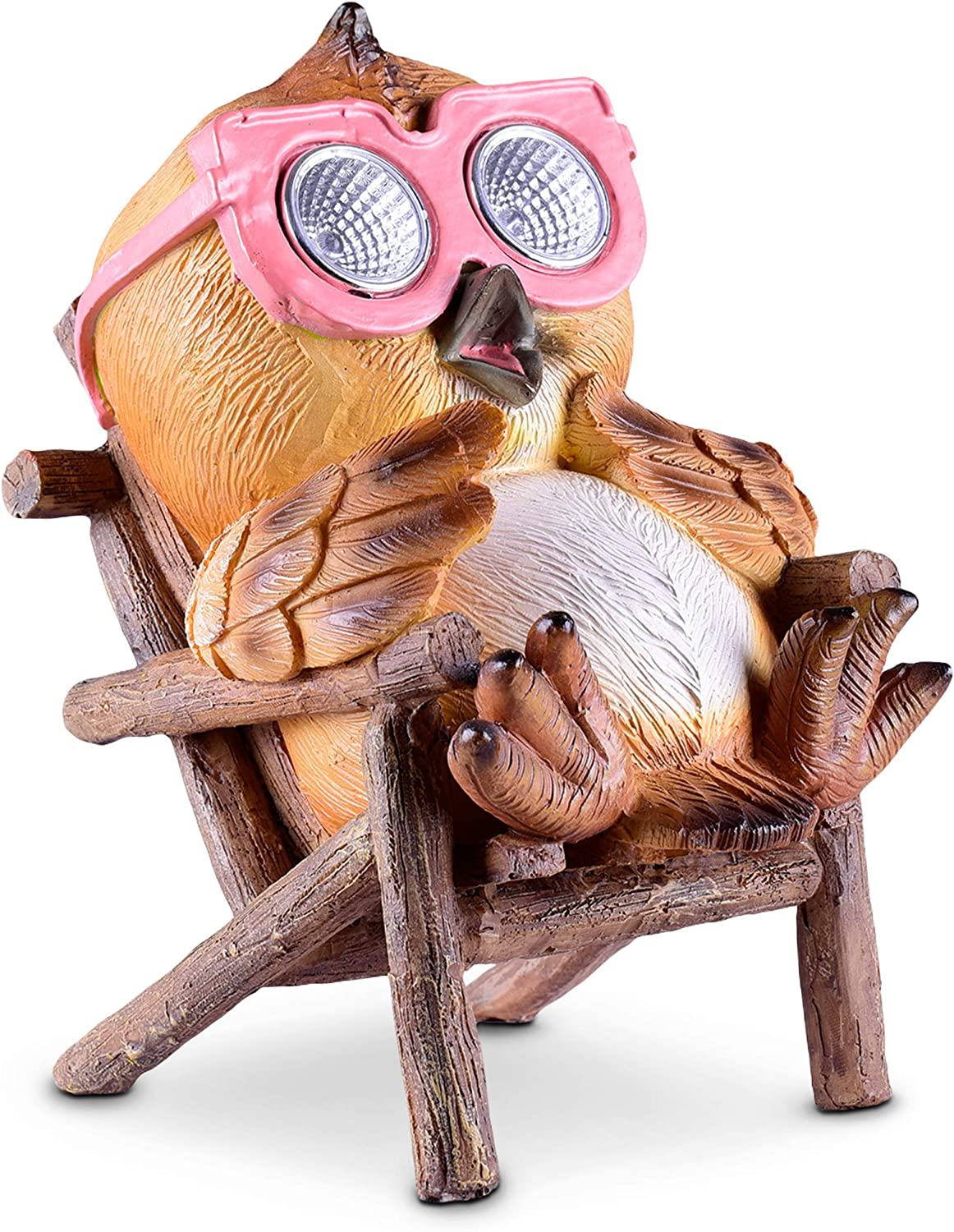 Solar Garden Decorations - Owl Figurine | Outdoor Yard Lawn Decor LED Figure | Light Up Decorative Statue Accents Patio or Deck | Weather Resistant | Great Housewarming Gift Idea (Brown - 1 Pack)