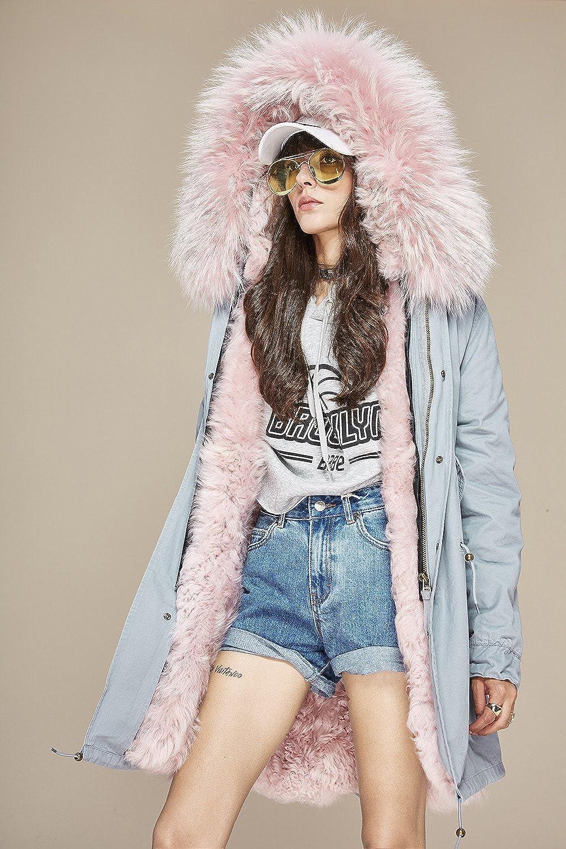 S.ROMZA Mujer Parka Gran piel de mapache Abrigos con capucha de largo Prendas de abrigo Real Lamb Liner Parka (S/34, Gris y rosa): Amazon.es: Ropa y ...