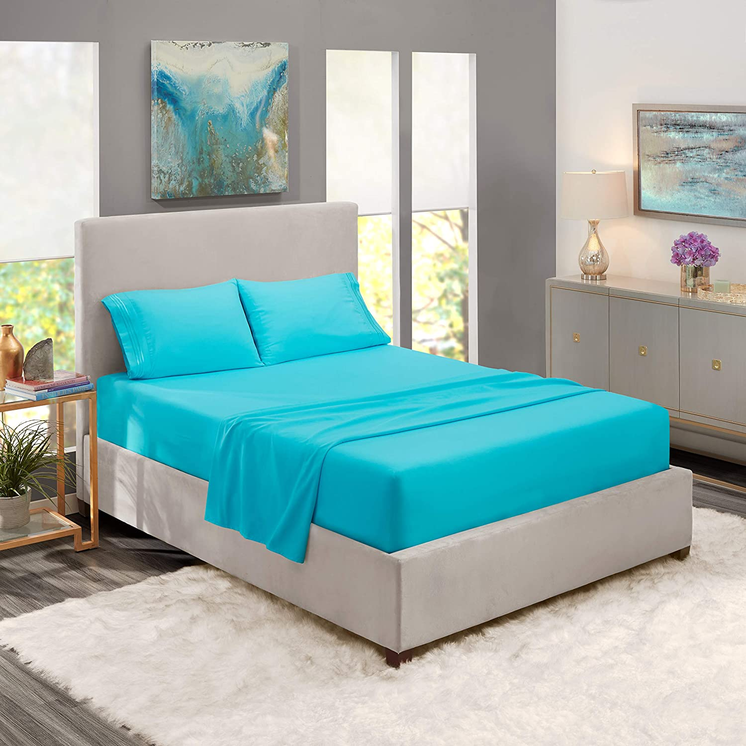 Bed Sheets, Queen, Beach Blue - Best Quality Bedding Set Sheets on Amazon, 4-Piece Bed Set, Deep Pockets Fitted Sheet, 100% Luxury Soft Microfiber - Hypoallergenic, Cool & Breathable