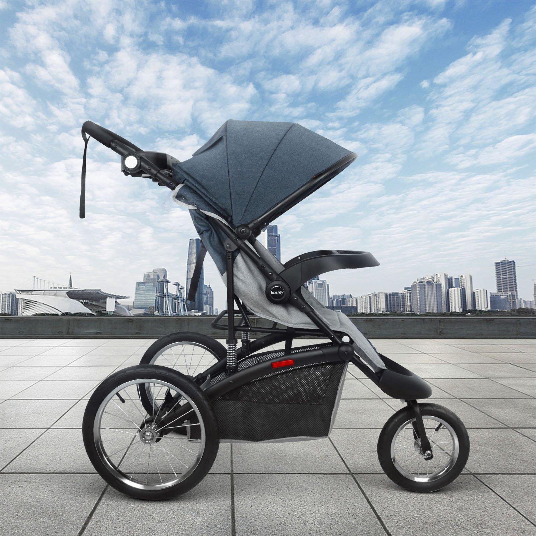 Besrey Jogger Kinderwagen Jogging Buggy Sportwagen Babywagen Luftreifen mit Elternkonsole