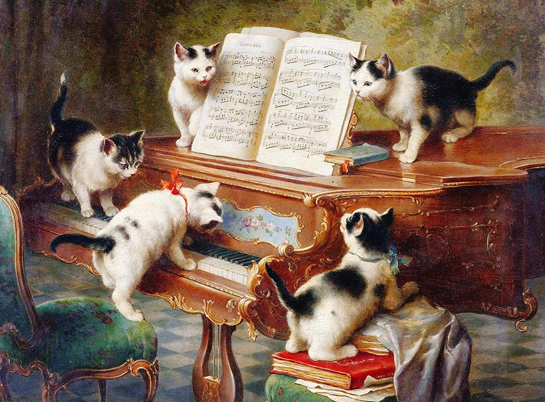 Rompecabezas 1000 Piezas Gato Tocando El Piano Gato Tocando El ...