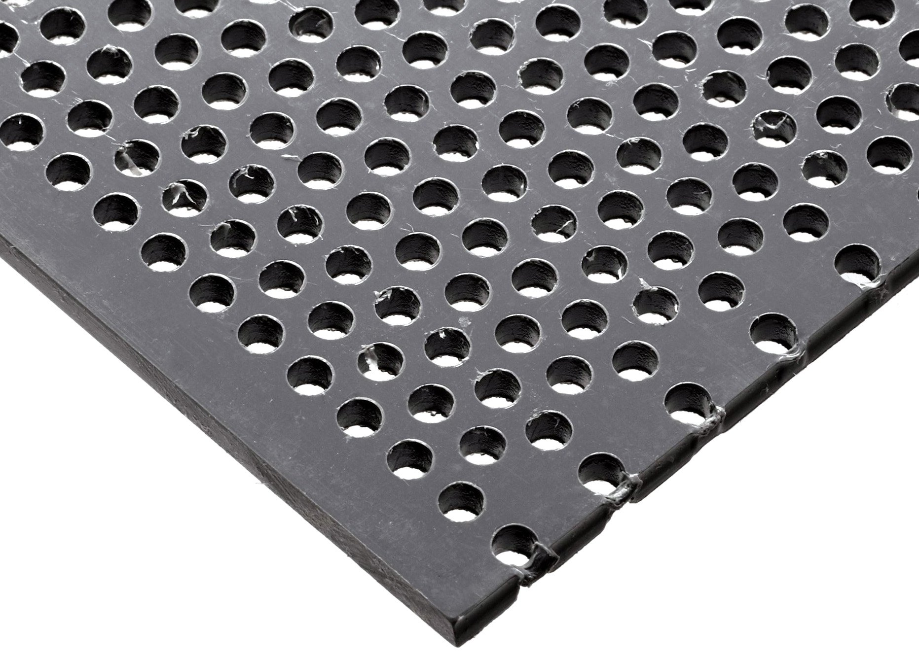 PVC (Polyvinyl Chloride) Perforated Sheet, Staggered Holes, Opaque Gray, 0.125'' Thickness, 12'' Width, 12'' Length, Staggered 1/8'' Holes, 0.2187'' Center to Center