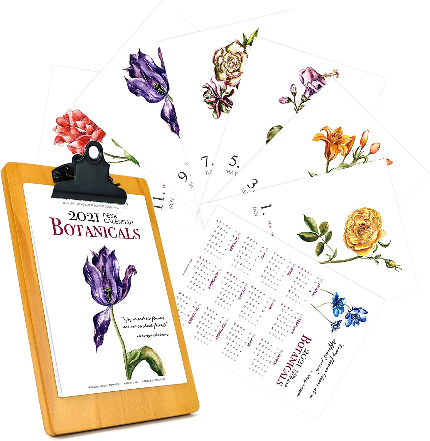 2021 Desk Calendar 5x7 with Wooden Display Easel Stand: Watercolor Art Flower Floral Botanical Nature Theme Home Office Décor (2021-Florals, Clip Board)