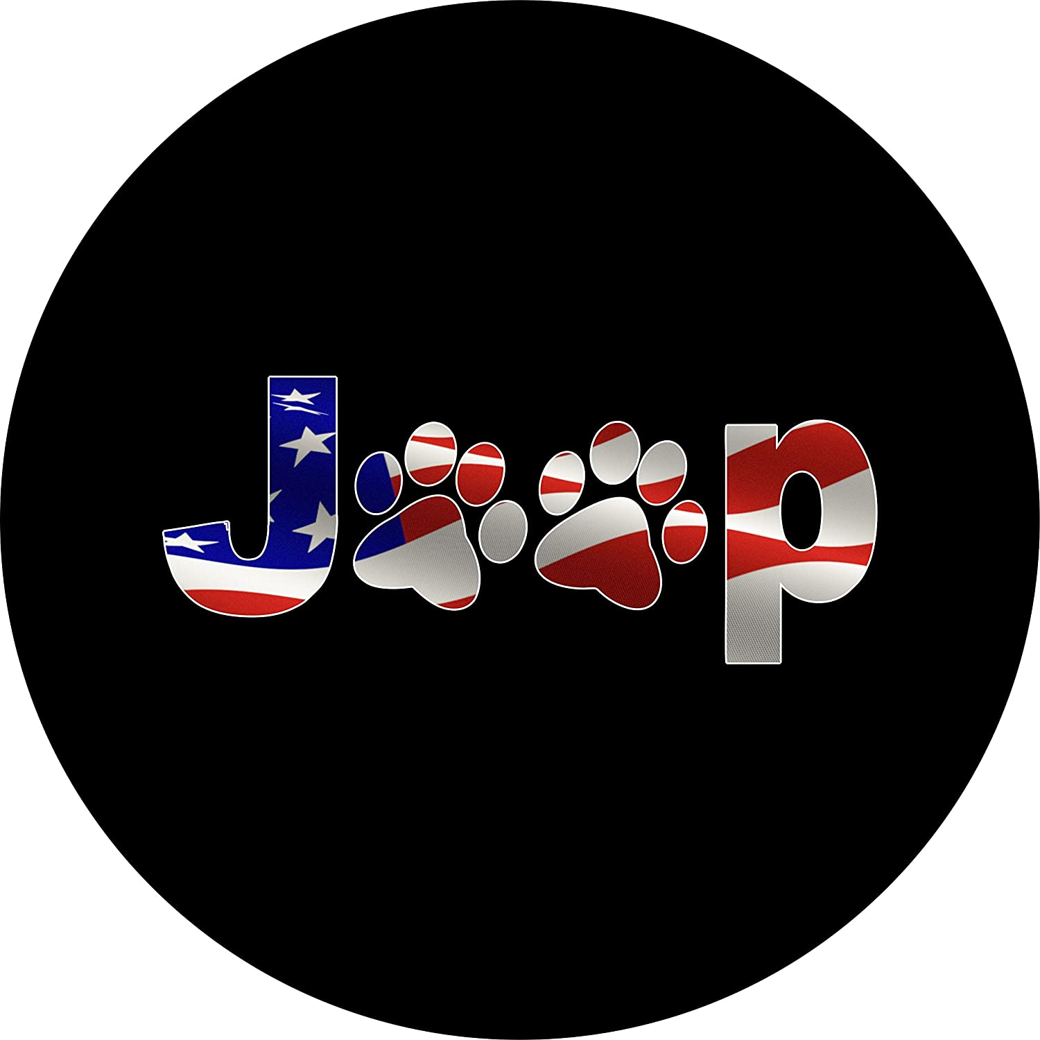 Tire Cover Central Jeep Paws Flag American Flag Inside The Text and Dog Paws Spare Tire Cover with Backup Camera for Jeep JL JLU 255/70r18