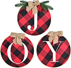 TOUTN Christmas Door Hanger Joy Sign Blessed Sign Harvest Fall Hanging Sign Plaid Wreath for Front Door - Rustic Burlap Wooden Holiday Hanging Decor Indoor Outdoor for Home/Window/Wall/Stairs/Party