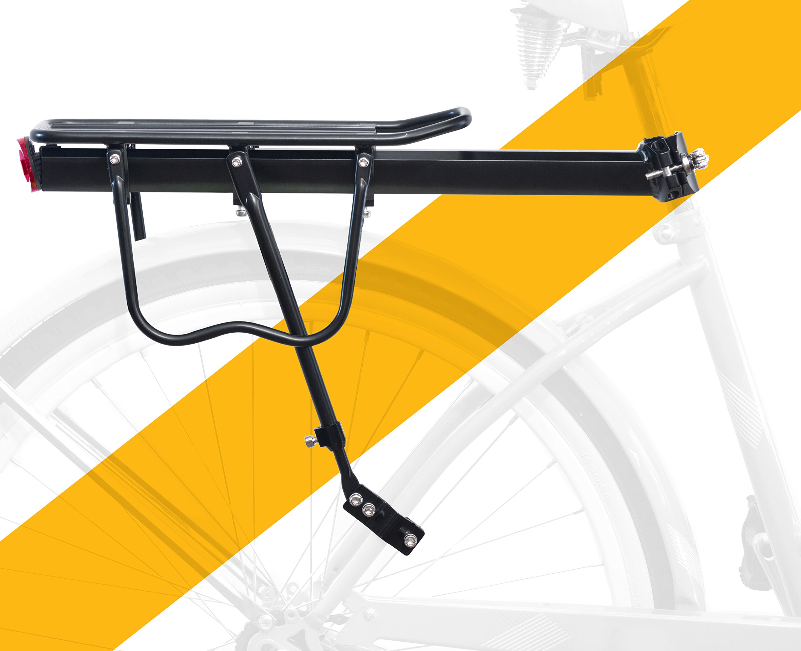 BoG Products Rear Bike Rack Heavy Duty Alloy Bicycle Carrier 110 Lb Capacity Easy to Install Guaranteed Satisfaction & Durability