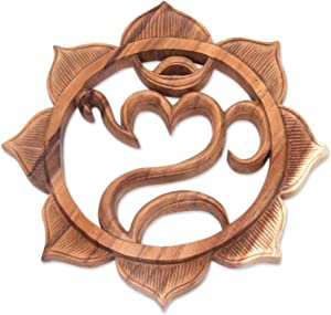 NOVICA Artisan Hand Carved Natural Suar Wood Relief Panel Om and Lotus Flower Wall Art, Brown, Omkara'