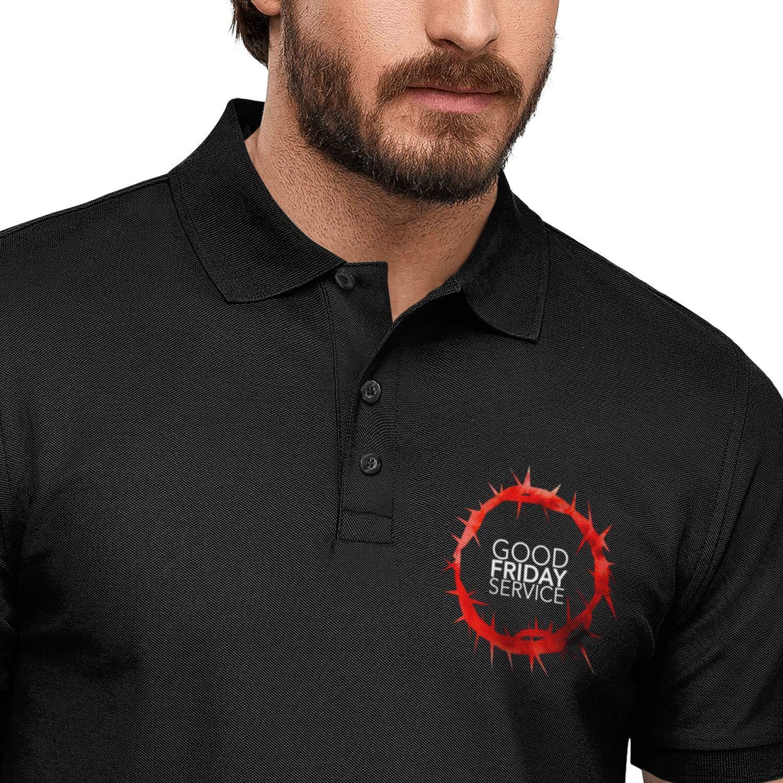 AIKYAN Good Friday Service White Printed Mens Polo Shirt Slim Fit GolfShirt
