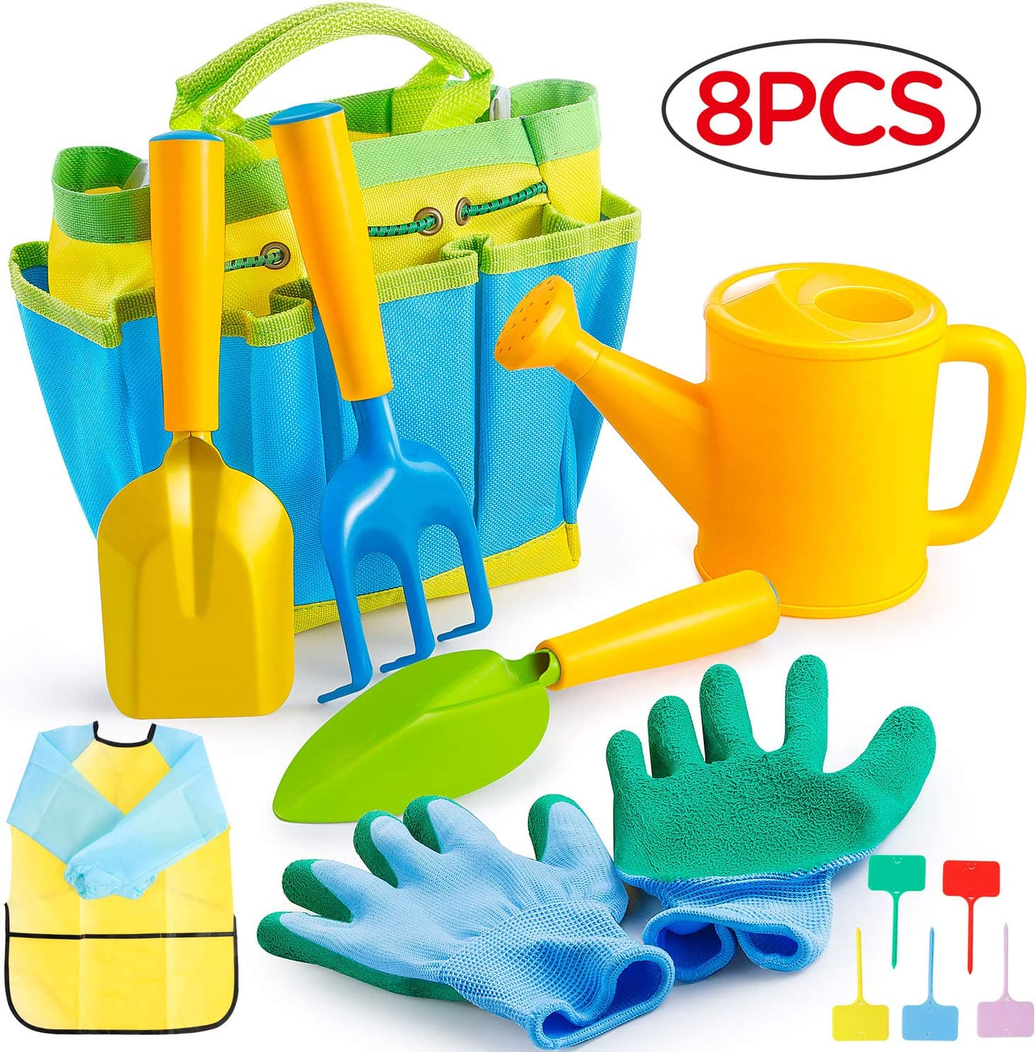 Gimars Sturdy Metal Kids Gardening Tools Gift for Toddler 8 PCS Kids Garden Set Including Watering Can, Shovel, Trowel, Gardening Gloves, Rake, Kids Smock, Garden Placard All in One Garden Tote Bag