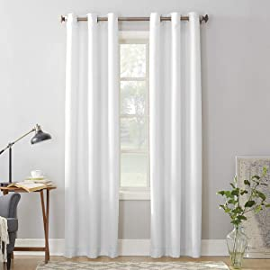 """No. 918 Montego Casual Textured Grommet Curtain Panel, 48"""" x 95"""", White"""